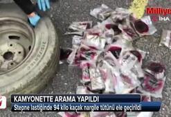 Stepne lastiğinde 94 kilo kaçak nargile tütünü ele geçirildi