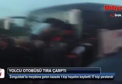 Yolcu otobüsü, park halindeki TIRa çarptı