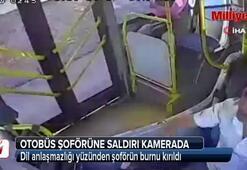 Otobüs şoförüne saldırı kamerada