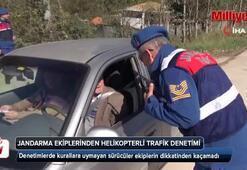 Jandarma ekiplerinden helikopterli trafik denetimi