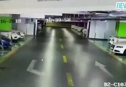 Kadın sürücü AVM otoparkını birbirine kattı