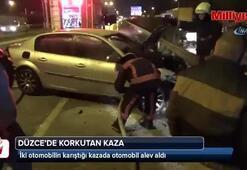 İki otomobilin çarpıştı, araçlardan biri alev aldı