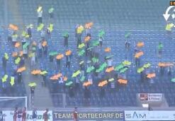 Magdeburg taraftarlarından görülmemiş protesto