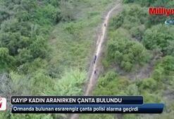 Kayıp kadın aranırken ormanda bulunan esrarengiz çanta polisi alarma geçirdi