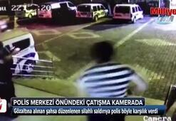 Polis merkezi önündeki çatışma anbean görüntülendi