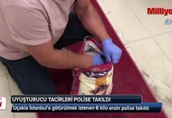 Uçakla İstanbula götürülmek istenen 6 kilo eroin polise takıldı