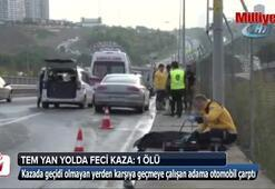 TEM yan yolda feci kaza