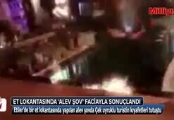 Ünlü et lokantasında alev şov faciayla sonuçlandı