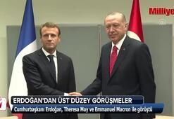 Cumhurbaşkanı Erdoğan May ve Macron ile görüştü