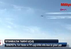THY uçağı ve Türk Yıldızları birlikte uçtu