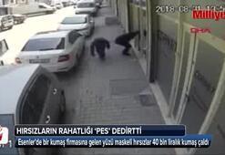 Maskeli kumaş hırsızları kameraya yakalandı