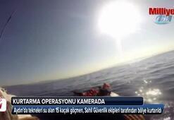 Tekneleri su alan kaçakları Sahil Güvenlik kurtardı