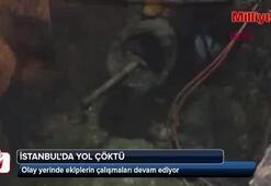 İstanbulda yol çöktü