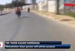 Motosikletli magandanın tek teker kazası kamerada