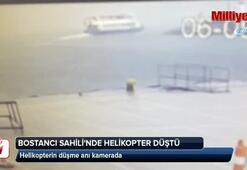 Bostancı Sahilinde helikopterin düşme anı kamerada