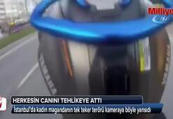 Motosikletli kadın maganda terör estirdi