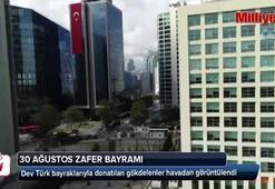 Dev Türk bayraklarıyla donatılan gökdelenler havadan görüntülendi