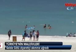 Türkiyenin Maldivleri Salda Gölüne ziyaretçi akını
