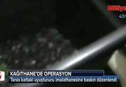 Kağıthane'de teras kattaki uyuşturucu imalathanesine polis baskını