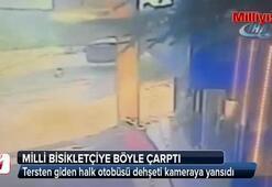 Tersten giden halk otobüsü dehşeti kameraya yansıdı