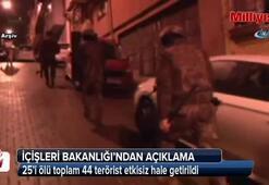 İçişleri duyurdu: 44 terörist etkisiz hale getirildi