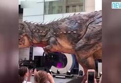Filmlerde kullanılan dev dinozor ziyaretçi akınına uğradı