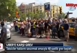 İspanyada taksiciler Ubere karşı grevde