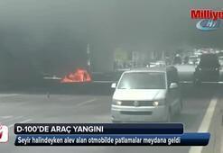 Kadıköy D-100de araç yangını