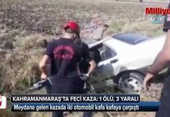 Kahramanmaraşta iki otomobil kafa kafaya çarpıştı