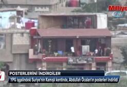 Kamışlı'da Öcalan posterleri indirildi
