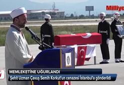 Şehit Semih Korkutun cenazesi İstanbula gönderildi