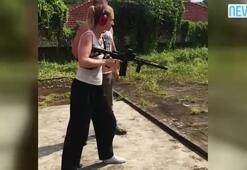Yasemin Allen silah eğitimi alıyor