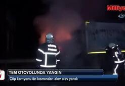 TEM otoyolunda kamyon alev alev yandı