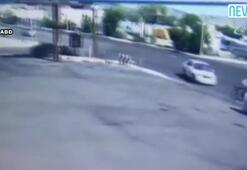Otomobilin çarptığı bisikletli metrelerce uçtu