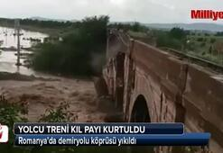 Yolcu treni yıkılan köprüden kıl payı kurtuldu