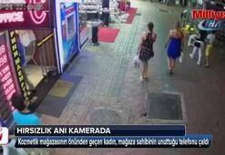 Alanya'da cep telefonu hırsızlığı güvenlik kamerasında