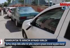 Samsun'da 15 aracın aynası kırıldı