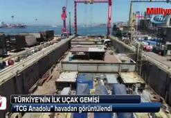 Türkiye'nin ilk uçak gemisi havadan görüntülendi