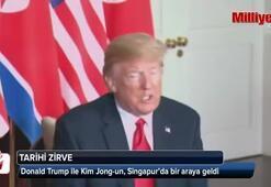 Donald Trump ile Kim Jong-un, Singapur'da bir araya geldi