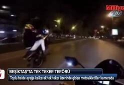 Trafikte terör estiren motosikletliler kamerada