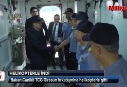 Bakan Canikli, seyir halindeki gemiye helikopterle gitti