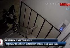 Motosiklet hırsızı güvenlik kameralarına böyle yakalandı