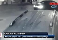 Araca çarpan sürücü böyle kaçtı