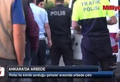 Polisi ile kimlik sorduğu şahıslar arasında çıkan arbedede 1i polis 3 kişi yaralandı