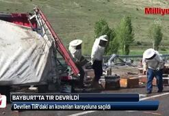 Bayburtta arı yüklü TIR devrildi