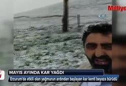 Erzuruma Mayıs ayında kar yağdı