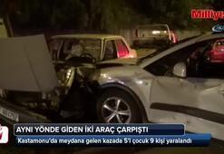Aynı yönde giden iki araç çarpıştı: 9 yaralı