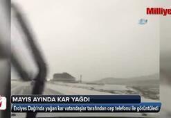 Erciyese Mayıs ayında kar yağdı