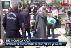 Erzincanda otomobil ile halk otobüsü çarpıştı: 10 yaralı
