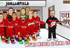 Liverpool oyuncuları ve Kloppa süper klip
